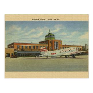 Vintage Kansas City Municipal Airport Post Card