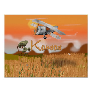 """Vintage Kansas Wheat field Travel Poster"" ""kansas Poster"