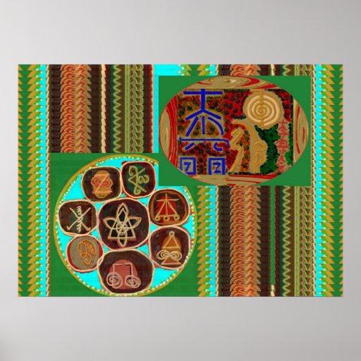 VINTAGE  KARUNA Reiki Master Healing Symbols Print