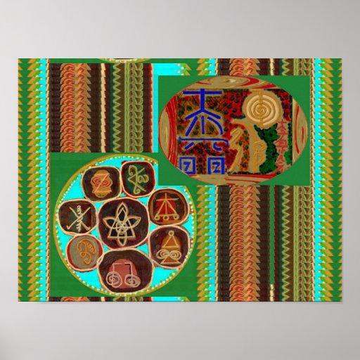 VINTAGE  KARUNA Reiki Master Healing Symbols Poster