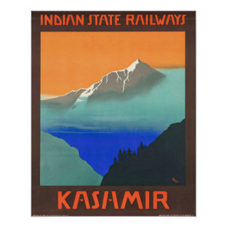 Vintage Kashmir India State Railways Travel Poster