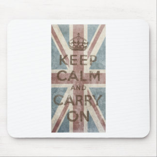 Vintage Keep Calm And Carry On Mouse Pad