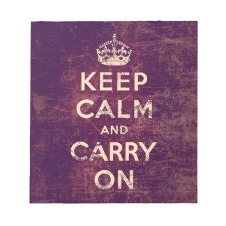 Vintage keep calm and carry on notepad
