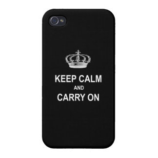 Vintage Keep Calm and Carry On Quote w Crown Case For iPhone 4