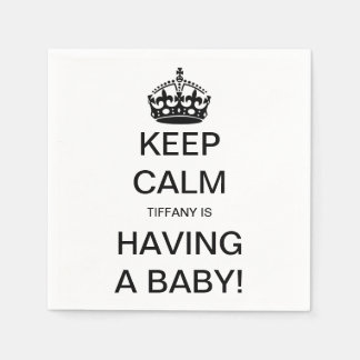 Vintage Keep Calm Gender Neutral Baby Shower Paper Napkin