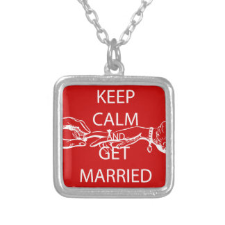 Vintage KEEP CALM  GET MARRIED Square Pendant Necklace