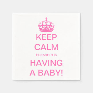 Vintage Keep Calm Pink Girl Baby Shower Disposable Napkin