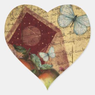Vintage Keepsake Butterfly Collage Heart Sticker