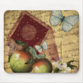 Vintage Keepsake Butterfly Collage Mouse Pad