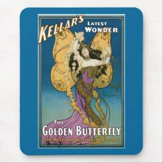 Vintage Kellar's The Golden Butterfly Mouse Pad