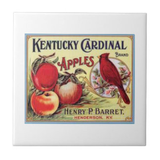 Vintage Kentucky Cardinal Apples, Henry P Barret,  Tile