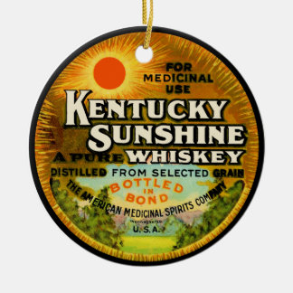 Vintage Kentucky Whiskey Label Ceramic Ornament
