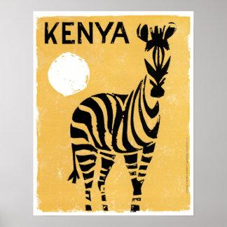Vintage Kenya Africa Zebra Poster