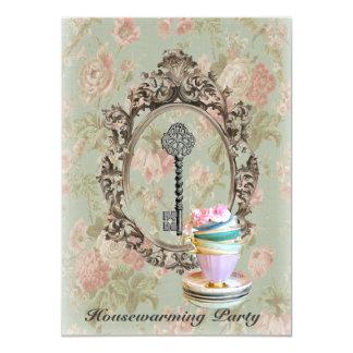 vintage key english floral  Housewarming Party Card