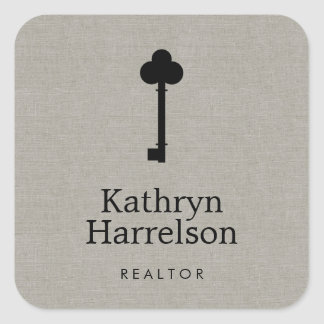 Vintage Key Realtor Real Estate Interior Designer Square Sticker