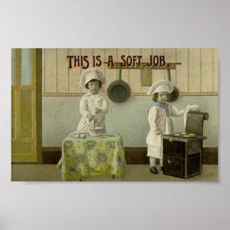 Vintage Kids Baking Art Print Poster
