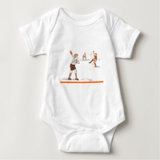 Vintage Kids Boys Baseball Game Baby Bodysuit