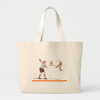 Vintage Kids Boys Baseball Game Large Tote Bag