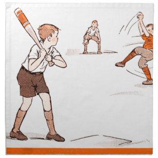 Vintage Kids Boys Baseball Game Napkin