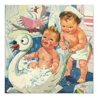 Vintage Kids in Bubble Bath Baby Shower Invitation