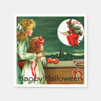 Vintage Kids Witch Moon Halloween Party Disposable Napkin