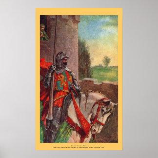 Vintage - King Arthur - Sir Lancelot and Elaine Poster