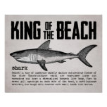 Vintage King of the Beach Shark Definition Poster