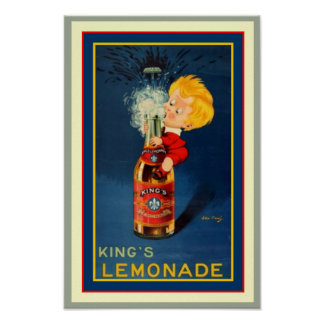Vintage King's Lemonade Ad Poster 11.5 x 16