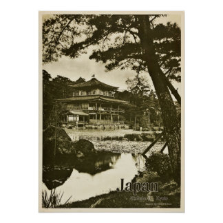 Vintage Kinkaku-ji Buddhist temple Japan Travel Poster