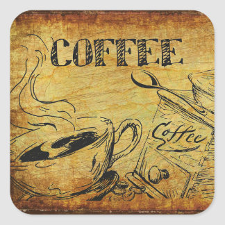 Vintage Kitchen Hot Coffee Cup Menu Sign Stickers