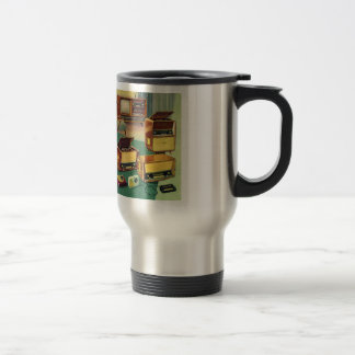 Vintage Kitsch 50s High Fidelity Stereo TV Sets Stainless Steel Travel Mug