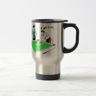 Vintage Kitsch 60s Pool Table Billards Players Travel Mug