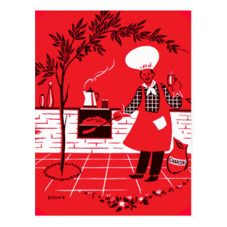 Vintage Kitsch BBQ Barbecue Suburban Dad Postcard