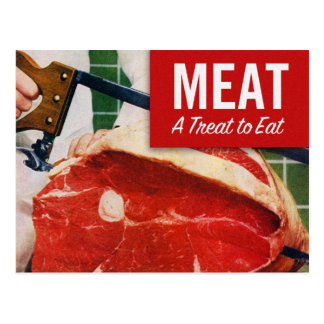 Vintage Kitsch Beef Meat it's A Treat To Eat Postcard