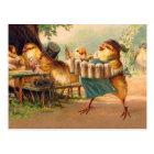 Vintage Kitsch Beer Octoberfest Chickens Hens Postcard