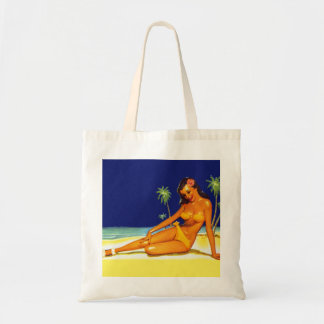 Vintage Kitsch Bikini Pin up Pinup girl Budget Tote Bag