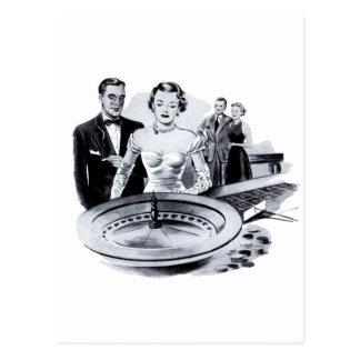 Vintage Kitsch Casino Gambling Roulette Wheel Postcard