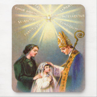 Vintage Kitsch Catholic Holy Card First Communion Mouse Pad