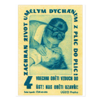 vintage Kitsch CPR Mouth to Mouth Czech Matchbook Postcard
