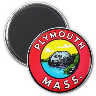 Vintage Kitsch Decal Plymouth Mass. Massachusetts Magnet