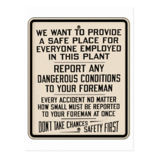 Vintage Kitsch Factory Metal Safety First Sign Postcard