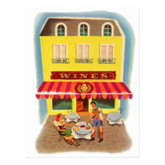 Vintage Kitsch Fifties Wine Cafe Ad Illustration Postcard