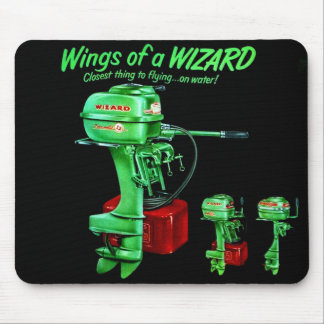 Vintage Kitsch Fishing Wizard Outboard Motor Mouse Pad