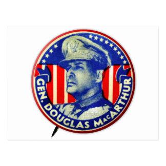 Vintage Kitsch General Douglas MacArthur Button Postcard