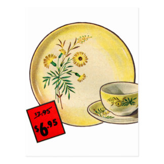 Vintage Kitsch Graphics Dishes Dinnerware Ad Postcard