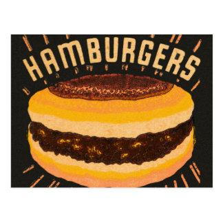 Vintage Kitsch Hamburgers Cheeseburger Matchbook Postcard