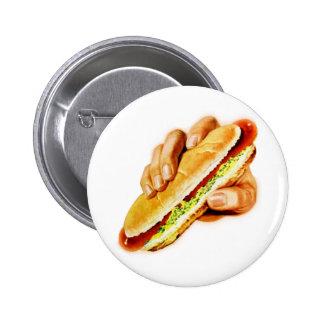 Vintage Kitsch Hot Dog with Relish 2 Inch Round Button