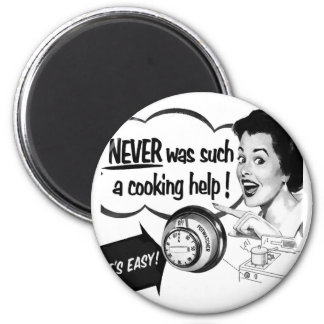 Vintage Kitsch Housewife Stove Ad The Potwatcher 2 Inch Round Magnet
