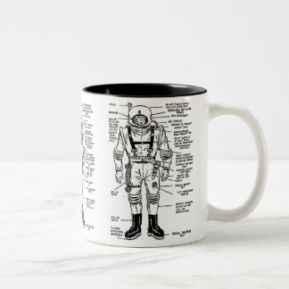Vintage Kitsch Mr. Spaceman Astronaut Illustration Two-Tone Coffee Mug