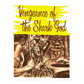 Vintage Kitsch Pulp Vengeance of The Shark God Postcard